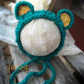 Bear Hat in Size 0-3 mos, Bonnet, Teal Blue and Mustard Bear Hat, Teddy Bear Hat, Photo Props, Photography Props, Baby Bear Hat, Teddy Hat