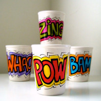 Ceramic Cups Set of Four Hand Painted Comic Book Sound Fx Geekery Super Hero Drinkware Sake