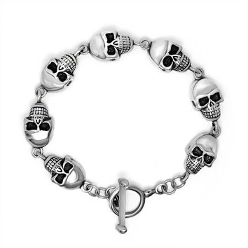 Hot Sale New Arrival Stylish Shiny Great Deal Gift Awesome Strong Character Creative Titanium Fashion Chain Punk Skull Bracelet [6542631747]