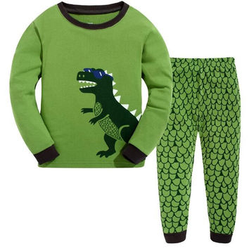 Hottest seller christmas cotton long sleeve baby girl clothes boy dinosaur shark pijama 2pcs clothing sets kids clothes pajamas