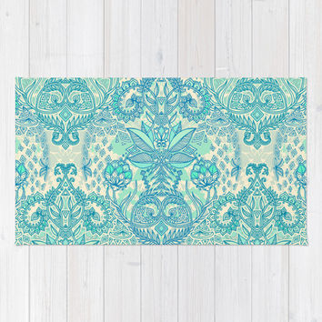 Botanical Geometry - nature pattern in blue, mint green & cream Area & Throw Rug by micklyn
