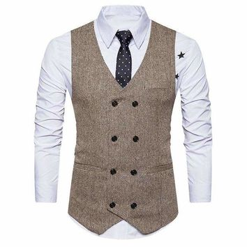 DCCKON3 men formal tweed check double breasted waistcoat retro slim fit suit jacket 1