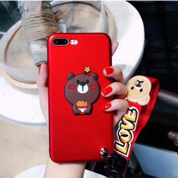 Cute bear eat French fries phone case for iphone 7 7 plus 8 8 plus 6 6s 6plus 6s plus + Nice gift box! -LJ-wx