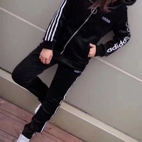 """Adidas Neo"" Women Casual Fashion Velvet Stripe Letter Long Sleeve Zip Cardigan Hooded Sweater Trousers Set Two-Piece Sportswear"