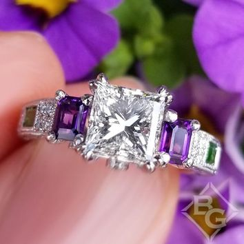 "Kirk Kara ""Charlotte"" Emerald Cut Amethyst & Green Tsavorite Diamond Engagement Ring"