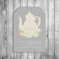 Bridal Shower Tea Invitation Bride To Be Tea Party Invite Grey Green Orange Peach Flowers Wedding Shower Tea Pot Elegant Floral (Printable)