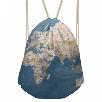 World Map Drawstring Bags Cinch String Backpack