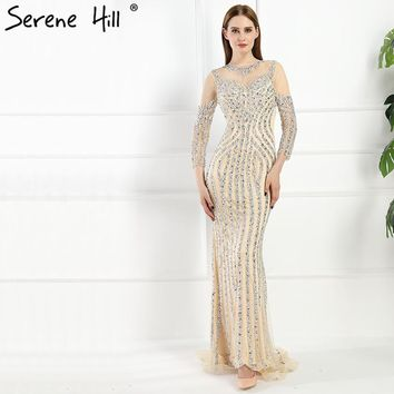 Luxury Illusion Back Dubai Mermaid Evening Dresses 2018 Real Picture Crystal Beaded Sequins Long Prom Dress BLA6078