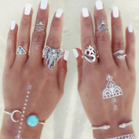 Silver 8pcs Bohemian Elephants Turkish Vintage Boho Knuckle Ring Set Punk Boho Beach Jewelry Turquoise Stone