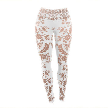 "KESS Original ""Baroque Rose Gold"" Abstract Floral Yoga Leggings"