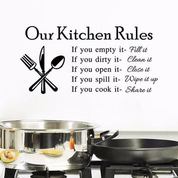 Kitchen Rules Wall Stickers for Home