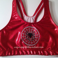 Spidey Super Hero Metallic Sports Bra Cheerleading