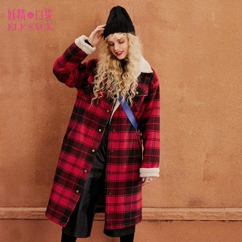 ELF SACK Plaid Lambskin Women Winter Wool Coats British Womens Polyester Trun Down Collar Thick Outerwear Female Casual Coats