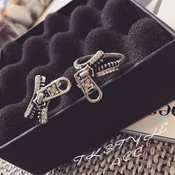 Shiny New Arrival Gift Jewelry Korean Strong Character Stylish Design Zippers Style Ring [6586155655]