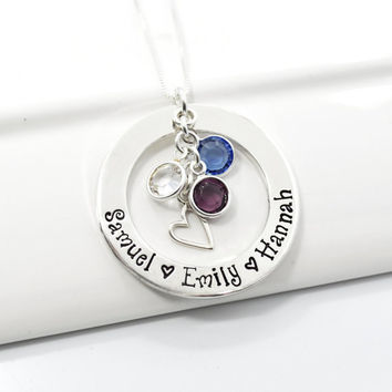 Personalized Mothers Necklace | Grandmother Hand Stamped Necklace | Sterling Silver Washer with Birthstones and Heart Charm
