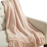 Whim by Martha Stewart Collection Fringe Stripe Throw, Only at Macy's | macys.com