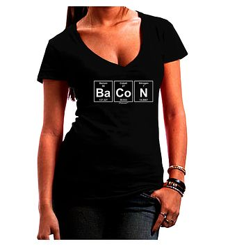 Bacon Periodic Table of Elements Juniors V-Neck Dark T-Shirt by TooLoud