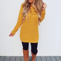 The Perfect Lace Up Sweater: Golden