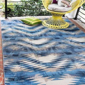7137 Blue Abstract Outdoor Contemporary Area Rugs