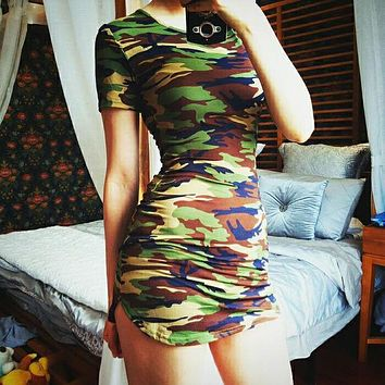 Fashion Camouflage Bodycon Short Sleeve Middle Long Section T-shirt Dress