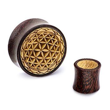 Double Flared Dark Tamarind Wood WildKlass Plugs with Flower of Life Front