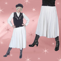 Vintage White Pleated Skirt - 70s Ivory Wool Acrylic Skirt with Pleats