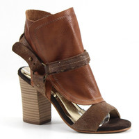 Diba True Shoes Italian Love 3.5 Inch Heel Leather Shooties Sandals Tan