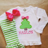 Christmas tree applique , Girls Boutique Christmas outfit , stripe ruffle pants , green hot pink , Christmas gift ,