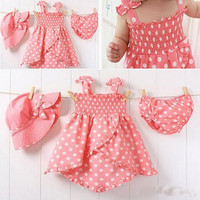 3pcs Kid Baby Girl Dress Braces Skirt+Pant+Hat Set Outfit Clothes skirt 0-3Y