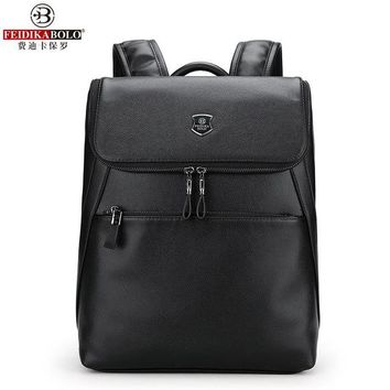 University College Backpack FEIDIKABOLO Fashion Soft Leather Men's Shoulder Bag New Personality  Wind Bag Wild Leisure Travel  Large CapacityAT_63_4