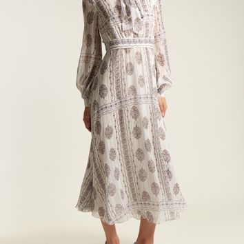 India flower-print silk-georgette dress | Giambattista Valli | MATCHESFASHION.COM US