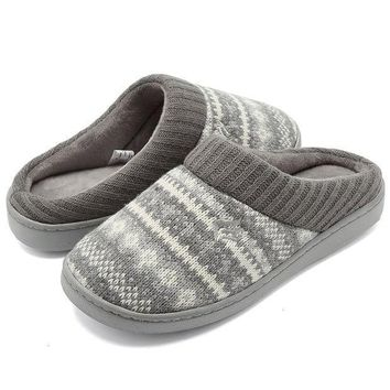 Cior Fantiny Women's Memory Foam House Slippers Sweater Knit Embroidered Pattern And Ribbed Hand Knit Collar