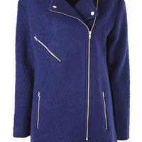 Navy Boucle Oversized Biker Coat at Fashion Union