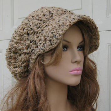 Handmade Newsboy hat, Tan Rustic Tweed Cap, Visor Tam Hat, Slouchy Beanie Billed hat beige