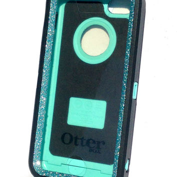 OtterBox Defender Series Case iPhone 5c Glitter Cute Sparkly Bling Defender Series Custom Case Peony black / blue topaz