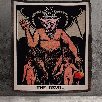 Large Woven Tapestry - The Devil Tarot Card Tapestry - Rider Waite Deck - Cotton