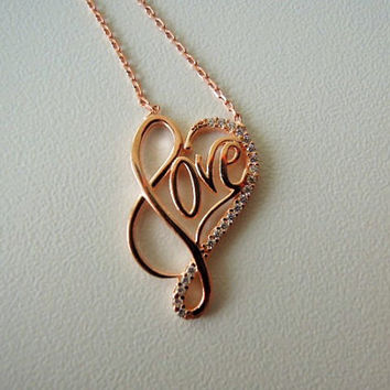 Victorian Love necklace, Christmas gift ideas for her, rose gold necklace, lucky protection jewelry, Good Luck, Christmas gift idea for her