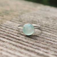 8mm Rose Cut Aqua Chalcedoney and Sterling Silver Stacking Ring - custom made to size