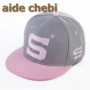 [aide chebi]2017 The Baseball Cap hip-hop cap snapback hat  old boys and girls flat-brimmed hat gorras hip-hop cap  pink colors
