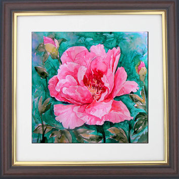Realistic Still life Pink Peony  Art  Print - Watercolor Painting, Flower Landscape - Vibrant color Print,  Wall decoration