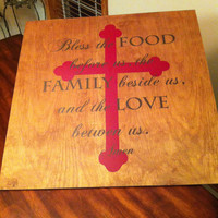 Bless this Food Before Us Cross Wooden Wall Art Sign