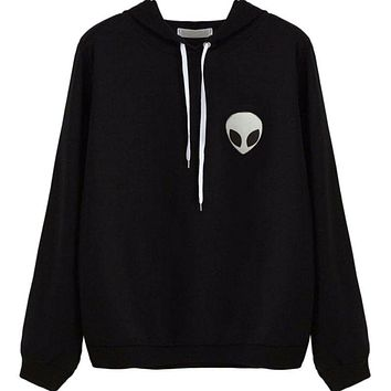 Autumn Women Sweatshirt Casual Long Sleeve Hoodie Alien Print Hooded Coat Pullover Top