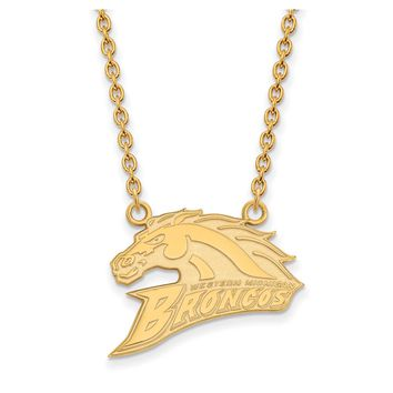 NCAA 14k Gold Plated Silver Western Michigan U Large Pendant Necklace