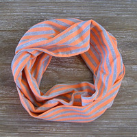 Striped Childs Scarf Cute Toddler Scarf Neon Peach Grey Holiday Gift Idea Girl Scarf Kids Scarf Ready To Ship