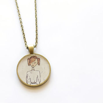 Star Wars Princess Leia Jewelry Necklace Art Print Jewelry antiqued brass Art Pendant Drawing Pendant Jewelry Star Wars Art Necklace