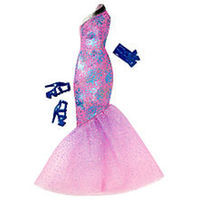 Barbie Gown Fashions - Purple Dress with Blue Shoes and Clutch