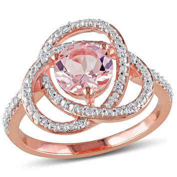 7.0mm Morganite and 1/10 CT. T.W. Diamond Promise Ring in Rose Rhodium Plated Sterling Silver