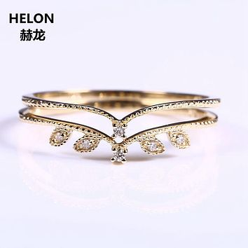 Solid 14k Yellow Gold Natural Diamonds Women Engagement Ring Party Wedding Romantic Band Leaf Millgrain Vintage Exquisite