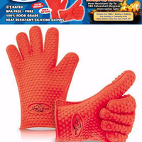 Heat Resistant Silicone BBQ Gloves - Best Oven Gloves - Best Grill Gloves , Great for Cooking , Boiling , Barbecue - Red Color