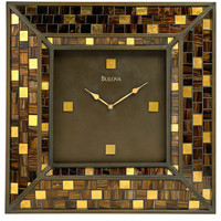 Bulova Alsace - Mosaic Glass Wall Clock - Burnished Bronze-Finish Case